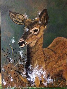 Acrylic painting of a deer by Teresa Beard-Lowell