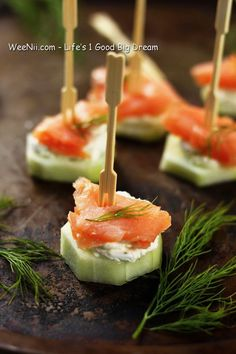 Smoked Salmon and Cucumber Salad On Stick