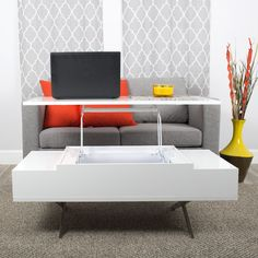Matrix Stelar White Lift-Top Rectangular Coffee Table | AllModern