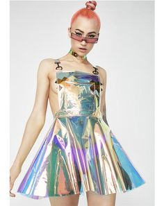 Free, fast shipping on Space Gurl Hologram Overall Dress at Dolls Kill, an online boutique for rave fashion. Shop Club Exx rave clothing and bodysuits here. Holographic Dress, Holographic Fabric, Armadura Cosplay, Sequin Kimono, Images Esthétiques, Fringe Skirt, Silver Dress, Rave Outfits, Overall Dress