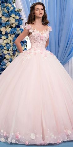 Wedding Dresses Ball Gown, Exquisite Tulle Sheer Jewel Neckline Ball Gown Wedding Dress With Lace Appliques & Flowers & Beadings MagBridal Pretty Quinceanera Dresses, Pink Wedding Dresses, Wedding Dress Styles, Pretty Dresses, Bridal Dresses, Gown Wedding, Tulle Wedding, Sweet 15 Dresses, Peacock Wedding