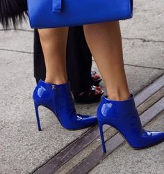 Electric Blue Patent Leather Booties