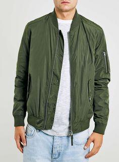 Khaki Bomber Jacket - Men's Coats & Jackets - Clothing