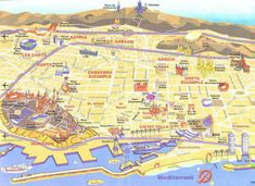 Tourist map of Barcelona, Spain