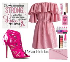 """""""i wear pink for"""" by pamelagraf ❤ liked on Polyvore featuring Chicwish, Givenchy, Rodin, MAC Cosmetics, Avon, Kat Von D and breastcancerawareness"""