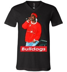 Tupac 2pac Shakur Supporting Georgia Bulldogs Football , Makaveli Death Row hiphop Swag, v28, Canvas Unisex V-Neck T-Shirt