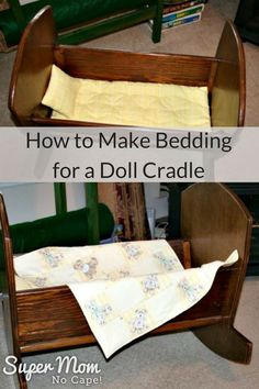 Follow these simple instructions to make bedding for your little one's doll cradle. #doll #dolls via @susanflemming