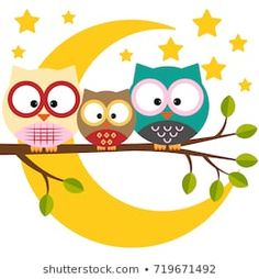 Three owls on a branch on a night moon sky background Owl Clip Art, Owl Art, Wall Painting Decor, Diy Painting, Cute Disney Drawings, Cute Drawings, Indian Art Paintings, Pencil Art Drawings, Whimsical Art