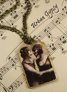 Best Friends Vintage Image Tag Pendant Gift For Women Necklace Handmade Sepia Tone Portraits Bohemian Tag Necklace by UrbanGypsyIndy on Etsy