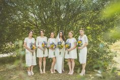 Vintage wedding, white bridesmaid dresses