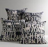 Sports Talk Decorative Pillow Cover & Insert I think this is black not navy or charcoal. Might get these for JL