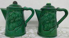 """Vintage """"At Home on your Range"""" El Rancho green coffee pot salt & pepper set"""