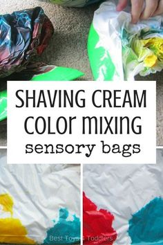 Best Toys 4 Toddlers - Mess-free way to teach about mixing colors - use sensory bags with shaving foam! #colormixing #mixingcolors #colortheory #sensoryplay #sensorybag #toddleractivities #playideas #besttoys4tots Sensory Bags, Baby Sensory, Sensory Activities, Infant Activities, Activities For Kids, Sensory Play, Indoor Activities, Sensory Bottles, Sorting Activities