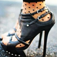polka dots + leather cut-out booties