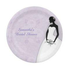 Bride Silhouette, Lavender Paper Plate