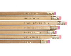Mac & Cheese, Bread & Butter, Me & You: Gold-Stamped Natural Wood Pencils