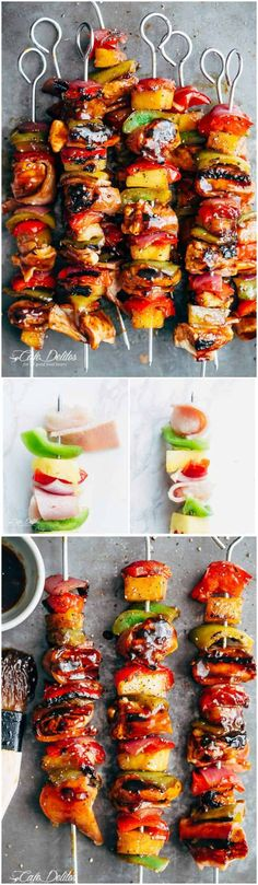 Hawaiian Chicken Bacon Pineapple Kebabs with a BBQ twist! Crispy bacon and chicken smothered in a Hawaiian style pineapple and barbecue sauce, these skewers are so addictive! | https://cafedelites.com
