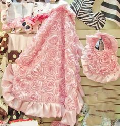 New Stunning Pink Rosette Blanket & Bib What an Amazing Baby Gift! - Newborn Christmas Outfits - Cassie's Closet. $90