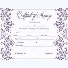 10 Marriage Certificate Templates Free Printable Word Pdf