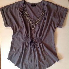 BANANA REPUBLIC Large Purple Mauve Beaded Tie Front Light Flattering Top Shirt #BananaRepublic #Blouse