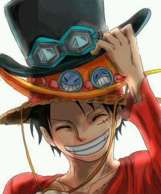 Luffy wearing Ace and Sabo's hats T~T