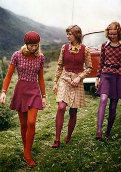 These outfits feature mini skirts worn with fun stockings, as well as a mixing of prints and bold colors. The girl on the left is also wearing a beret.