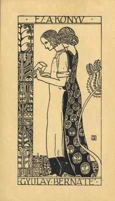 ≡ Bookplate Estate ≡ vintage ex libris labels︱artful book plates - Lajos Kozma (1884-1948) for Gyulay Bernát, c. 1910