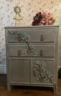 Handpainted Vintage Oak Cupboard With Drawers Grey Flowers   | eBay