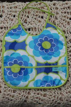 Blue and Lime Laminated Pocket Bib  handmade baby by yorkpatty, $12.00 www.yorkpatty.etsy.com