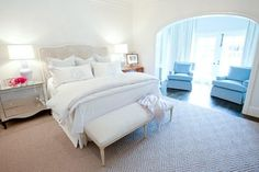 Traditional Living - traditional - bedroom - houston - Munger Interiors - LOVE the monogram!  @Amy O'Connor