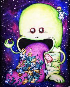 Galaxy UFO from #doodleinvasion :) #colouringbookforadults #kolorowankidladorosłych #kolorowankiantystresowe #coloringbook #watercolor #galaxy #inktense #derwentinktensepencils #zifflin #zifflinscoloringbook