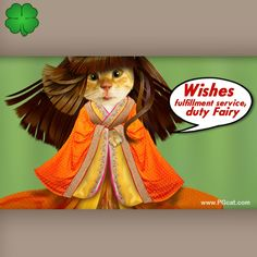 Wishes fulfillment fairy greeting card to add your wishes, good luck, cute cat, nice, kawai