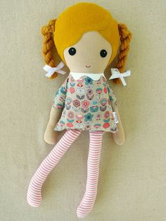 Repinned  from  jeanny schilf  Fabric Doll Rag Doll Girl in Golden Braids