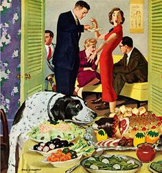 Doggy Buffet, art by Dick Sargent.  Detail from cover January 5, 1957 Saturday Evening Post.