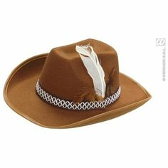 713ab361c71c6 Brown Sheriff Hat with Feathers Adult Felt for Cowboy Wild West Fancy Dress  Accessory