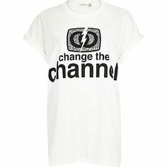 White change the channel oversized t-shirt £16.00