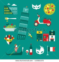 Vector set of stylized italy icons by Vector pro, via Shutterstock