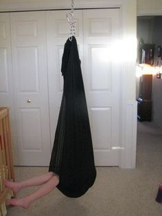 DIY- Sensory Tools on a Budget- lycra tunnel, cuddle swing, weighted blanked, crash pad, squish box, platform swing, trapeze, tent...Repinned by playwithjoy.com. For more sensory activity pins visit pinterest.com/playwithjoy