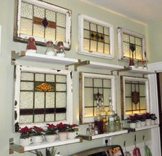 Old leaded glass windows that look like they are back lit..bet they look great at night....
