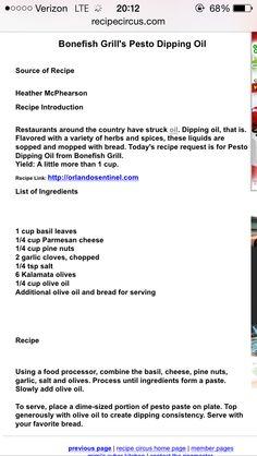 Restaurant Bread Recipe, Bonefish Grill Bread Dip Recipe, Restaurant Recipes, Dip Recipes, Cooking Recipes, Party Recipes, Bread Recipes, Keto Recipes