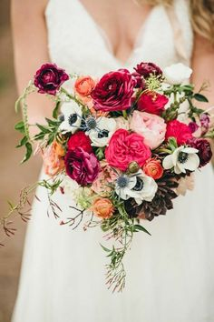 beautiful bridal bouquet of flowers in bright colors