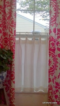 Linen Cafe Curtain Scalloped French Pleat by LaFortuneLinens