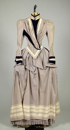 Dress, cotton and silk, 1885, American.