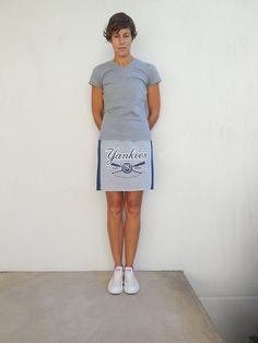 New York Yankees T Shirt Skirt Women's T-Shirt Skirt Gray by ohzie