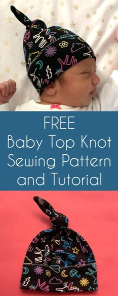 Free Baby Top Knot Hat Sewing Pattern and Tutorial Hat Patterns To Sew, Sewing Patterns Free, Free Sewing, Sewing Blogs, Sewing Tutorials, Sewing Hacks, Sewing Tips, Bee Fabric, Baby Sewing