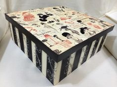 Caixa porta-trecos com papel scrap e pintura em stencil.