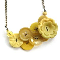 Pale Yellow Flower Vintage Button Statement Necklace. $33.00, via Etsy.