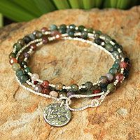 Jasper and silver beads