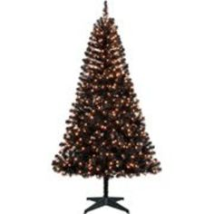 Best Cheap Black Christmas Tree | Black 6.5 Foot Pre-Lit Artificial Christmas Tree: 750 Tips, 500 Clear SureBright Lights [Free Holiday Music CD Includ...