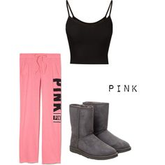 PINK by farah-i on Polyvore featuring Victoria's Secret PINK and UGG Australia